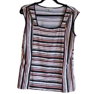 Cleo Petite Striped Pullover Sleeveless To…